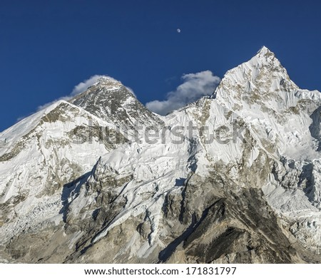 The moon rises over Mt. Everest (8848 m)  (view from Kala Patthar) - Nepal, Himalayas