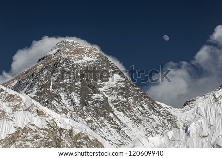 The Moon rises over the Mount Everest (the highest peak in the world 8848m) on the South Col (view from Kala Patthar) - Nepal, Himalayas