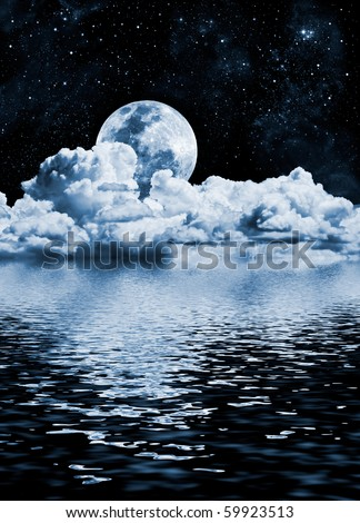 The moon setting over clouds and water with reflections; a cold toned black and white image. - stock photo