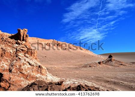 The Moon Valley in the Atacama Desert, Chile - stock photo