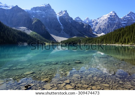 The Moraine Lake in Banff National Park, Alberta, Canada on a mid-summer morning