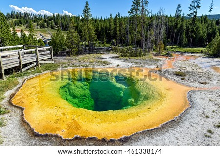 The Morning Glory Pool in the Upper Geyser Basin of Yellowstone National Park, Wyoming, USA
