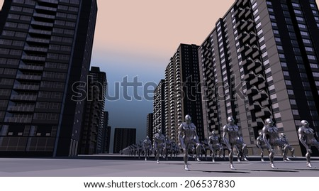 The morning shift emerges - stock photo