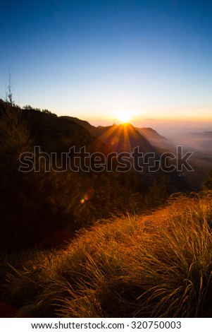 The morning sunshine at the top of the mountain in Indonesia