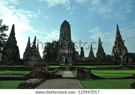 The morning time  at Wat Chaiwattanaram Temple Ayutthaya Thailand