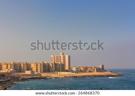 The morning view of Alexandria harbor, Egypt.