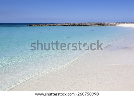 The morning view of an empty beach on Paradise Island (The Bahamas). - stock photo