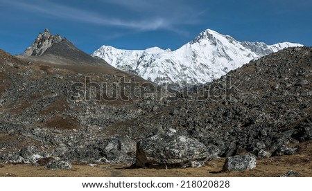 The morning view of one of the highest in the world summits of Cho Oyu (8153 m) - Gokyo region, Nepal, Himalayas - stock photo