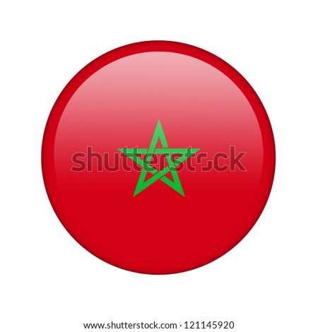 The Moroccan flag in the form of a glossy icon. - stock photo