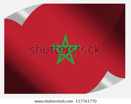 The Moroccan flag painted on page sheet with folded corners