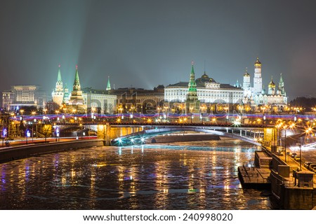 The Moscow Kremlin in winter - stock photo