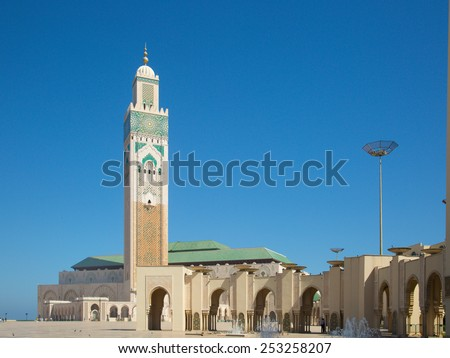 The mosque is the largest in Morocco and the 7th largest in the world. The minaret is the world's tallest at 689 feet