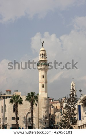 The Mosque of Omar was built in 1860 to commemorate the Caliph Umar's visit to Bethlehem upon its capture by the Muslims