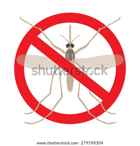 the mosquitoes stop sign -  image of funny mosquito in a red crossed out circle - stock photo
