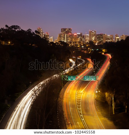 The Most Beautiful Highway - Downtown San Diego from the Cabrillo Bridge - stock photo