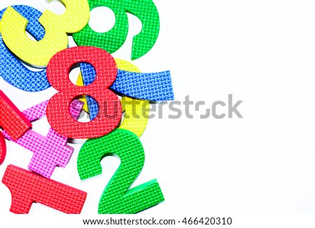 The most beautiful of colorful numbers learning set for kids in concept back to school isolated on white background,Focus on number 8 with copy space