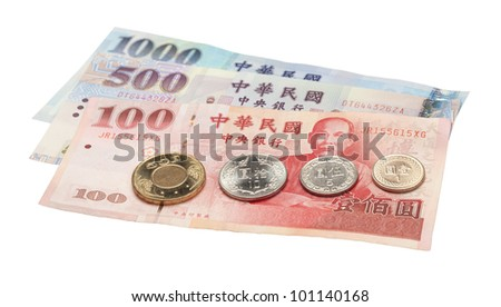 The most commonly coins and notes used in Taiwan. - stock photo