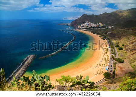 the most famous beach near Santa Cruz de Tenerife - Playa de Las Teresitas, Canary Islands, Spain - stock photo