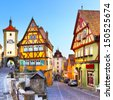 The most famous street in Rothenburg ob der Tauber, Bavaria, Germany - stock photo