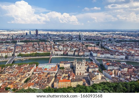 The most famous view of Lyon from the Notre Dame de Fourviere Basilica - stock photo