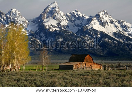 The most photographed barn - Wyoming's residents saved it from decay and had it declared a national historic site - stock photo