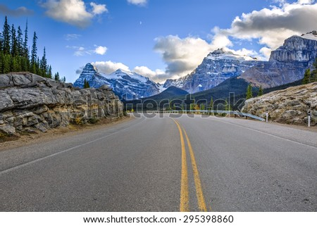 The most picturesque road in Banff and Jasper national parks, Canada