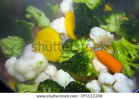 The most useful way of cooking. A set of useful for a healthy diet of vegetables, including cabbage, broccoli, carrots, and other vegetables, prepared on a steam bath.  - stock photo