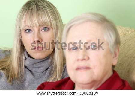 The mother and daughter together - stock photo