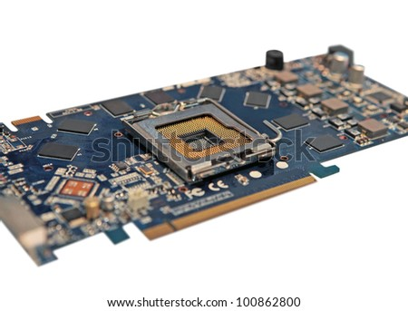 the motherboard with the socket of the microprocessor and electronic components
