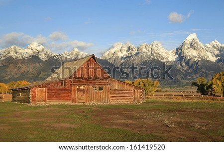 The moulton barn at sunrise in the fall , grand tetons national park - stock photo