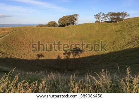 The Mount Eden with nature scenic background. - stock photo