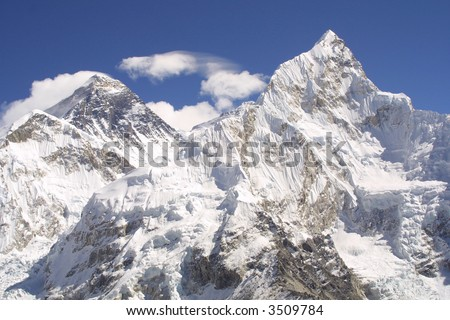 The Mount Everest 8848 and Nuptse