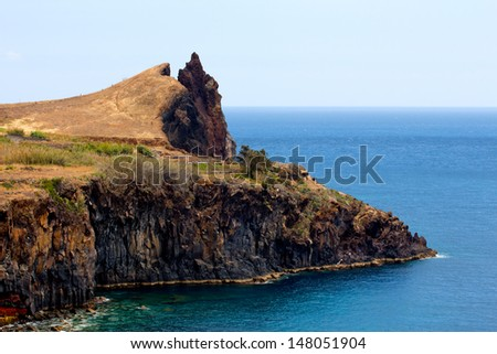The mountain and rocks by the sea in Madeira