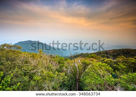 the mountain and twilight sky  - stock photo