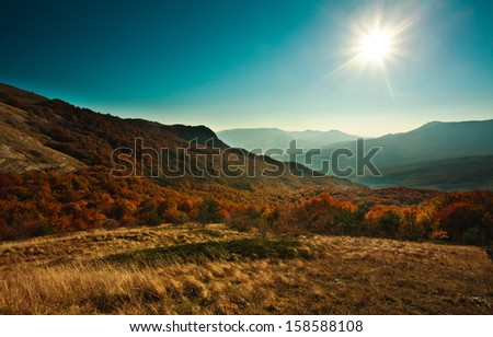 The mountain autumn landscape with colorful forest, under the sunshine