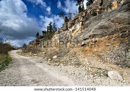 The mountain country road. Russia. plateau Lagonaki - stock photo