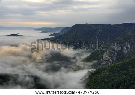 The mountain hills in the fog, National park Tara