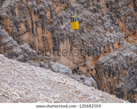 The mountain lift Cristallo dolomites Italy - stock photo