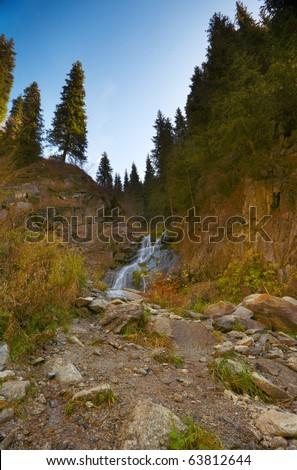 The mountain river - stock photo