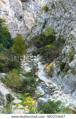 The mountain river in gorge in the Alpes-Maritimes, France