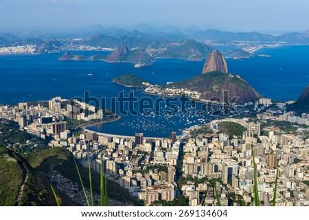 The mountain Sugar Loaf and Botafogo in Rio de Janeiro. Brazil - stock photo