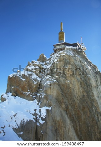 The mountain top station of the Aiguille du Midi (3842 m) in Chamonix, France