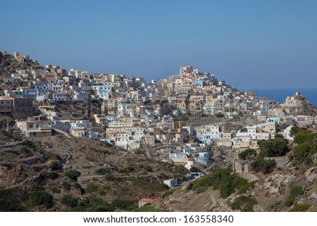 the mountain village Olympos on the greek island of Karpathos - stock photo