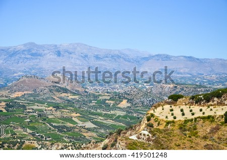 The mountains and plateau in Greece (Crete) - stock photo