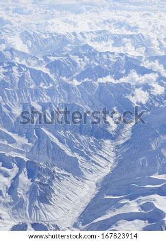 The mountains - Himalayas - Himalaya Range - summit - glacier - cloud - sky