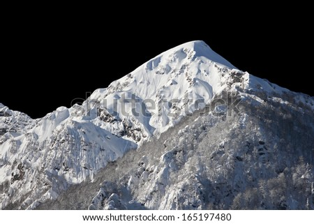 The mountains in Krasnaya Polyana at night, Sochi, Russia - stock photo