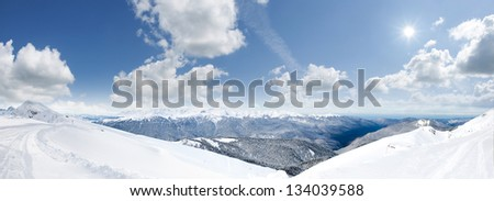 The mountains in Krasnaya Polyana. Sochi - capital of Winter Olympic Games 2014. Russia. - stock photo