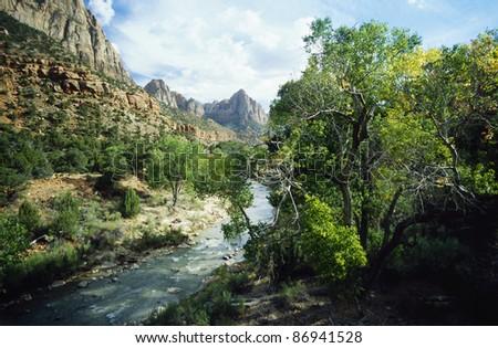 The Mountais of the Zion National Park - stock photo