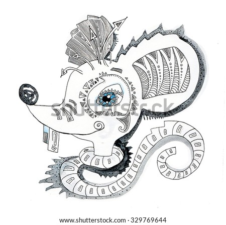 the mouse of the china horoscope of the year hand drawing outline ethnic style isolated on the white background - stock photo