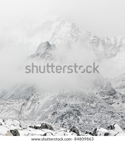 The Mt. Everest region in bad weather, Nepal - stock photo